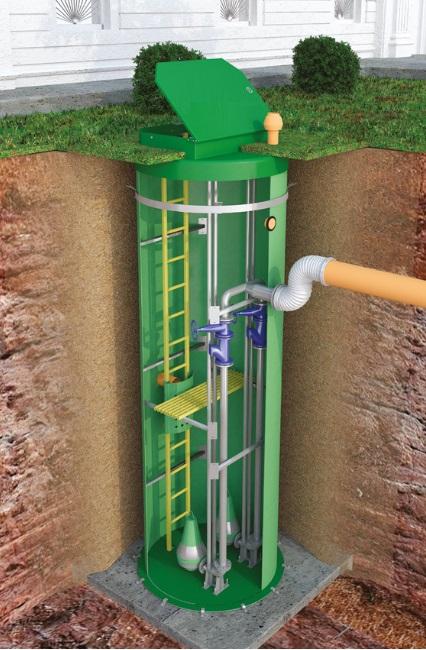 Stație de pompare ape uzate în cămin prefabricat